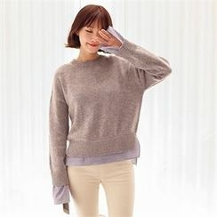 Styleberry - Stripe Shirt Trim Sweater