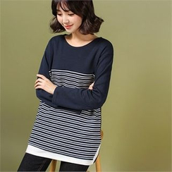 Styleberry - Color-Block Stripe T-Shirt