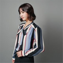 Styleberry - Tie-Neck Multi Stripe Shirt