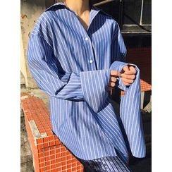 FROMBEGINNING - Oversized-Cuff Pinstripe Shirt