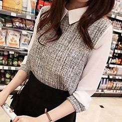 Fashion Street - Collared Long-Sleeve Blouse