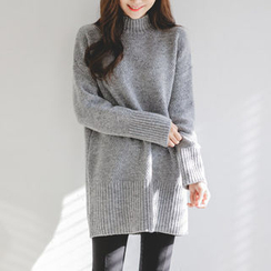 JUSTONE - Mock-Neck Wool Blend Long Knit Top