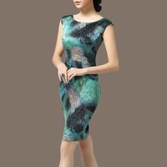 la nuit - Printed Sleeveless Silk Dress
