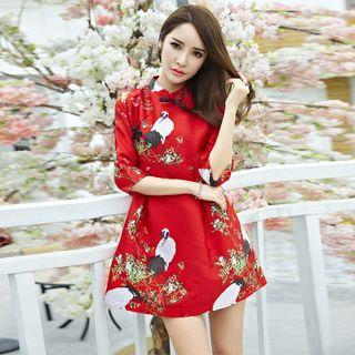 Cobogarden - Bird Print Chinese Frog Button A-Line Dress