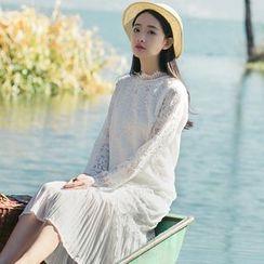 Sens Collection - Pleated Hem Long Sleeve Lace Dress
