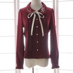 Reine - Pintuck Embroidered Long-Sleeve Blouse
