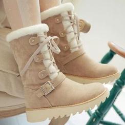 Pastel Pairs - 毛裡中長靴