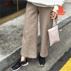 QNIGIRLS - Band-Waist Wide-Leg Pants