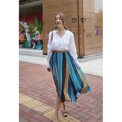 BBORAM - Patterned A-Line Long Skirt