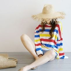 NANING9 - Stripe Oversized Cotton Sweatshirt