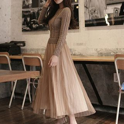 Furuto - Long-Sleeve Mock Two Piece Knit Panel Maxi Dress