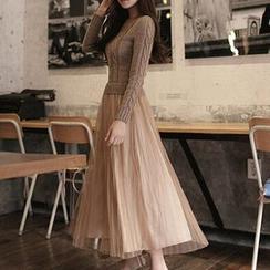 Furuto - 长袖假两件针织拼接连衣长裙