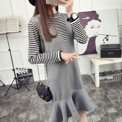 anzoveve - Set: Striped Long-Sleeve Knit Top + Ruffle Hem Pinafore Dress