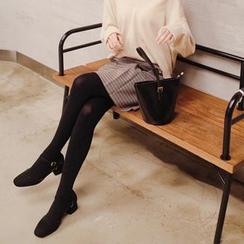 mimi&didi - Zip-Back Plaid Mini Skirt