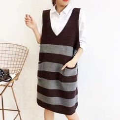 Ranche - Striped V-Neck Knit Pinafore Dress