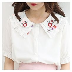 Sechuna - Embroidered Peterpan-Collar Blouse