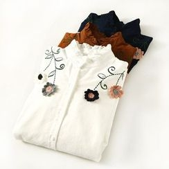 Ranche - Frill Trim Embroidered Long-Sleeve Shirt