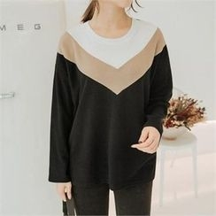 JOAMOM - Long Sleeve Color-Block T-Shirt