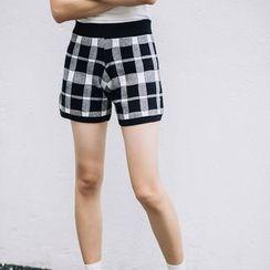 Emeline - Plaid Knit Shorts