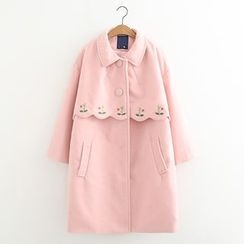 MAOMAO - Embroidered Single-Breasted Coat