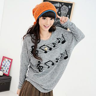 59 Seconds - Musical Notes Print Long Knit Top