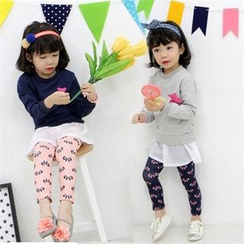 nanakids - Girls Set: Layered Dress with Brooch + Ribbon Leggings