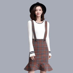 Sentubila - Plaid Ruffle Hem Suspender Skirt