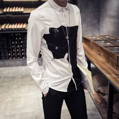 MEING - Long-Sleeve Cat Print T-Shirt