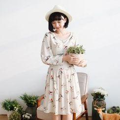 Forest Girl - Long-Sleeve Bird Print Dress