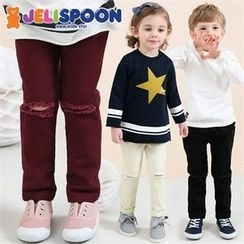 JELISPOON - Kids Band-Waist Distressed Pants