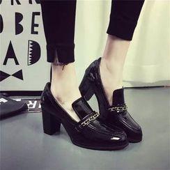 Laceuplux - 粗跟漆皮高跟鞋