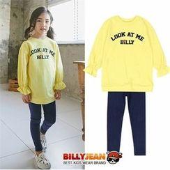 BILLY JEAN - Girls Set: Frill-Cuff Printed T-Shirt + Leggings
