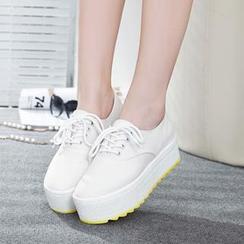 Wello - Canvas Platform Lace-up Shoes
