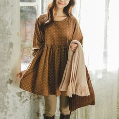 JUSTONE - Puff-Sleeve Dotted Mini Empire Dress