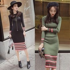 EFO - Long-Sleeve Striped Trim Dress