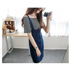 demavie - Set: Denim Jumper Skirt + Off-Shoulder Striped T-Shirt