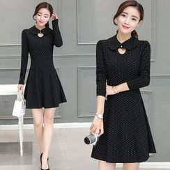 EFO - Dotted Cutout Collared Dress