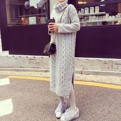 ANTEM - Turtleneck Cable Knit Midi Sweater Dress