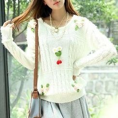 Isadora - Flower Accent Furry Sweater