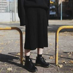 STILL YOU - Plain Midi Knit Pleated Skirt