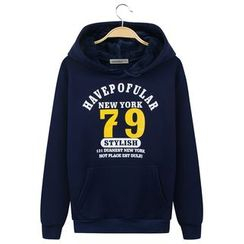 Champking - Fleece-Lined Printed Hooded Pullover