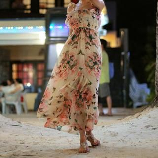 chuu - Ruffle-Trim Floral Chiffon Dress