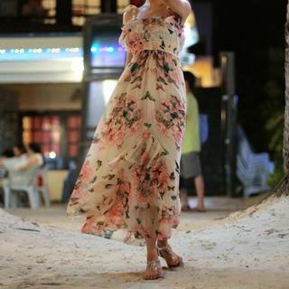 chuu - Ruffle-Trim Floral Chiffon Dress