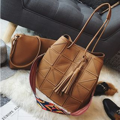 Aishang - Set: Panel Bucket Bag + Crossbody Bag