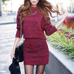 Angel Shine - Set: Dolman-Sleeve Knit Sweater + Knit Pencil Skirt