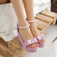 Pastel Pairs - Faux Pearl Ankle Strap Bow Platform Wedges