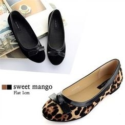 SWEET MANGO - Bow Faux-Suede Flats