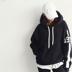 NANING9 - Lettering Hood Pullover