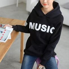 59 Seconds - Lettering Oversized Hooded Pullover