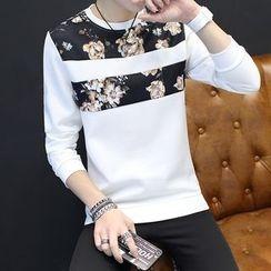 Alvicio - Floral Print Panel Sweatshirt